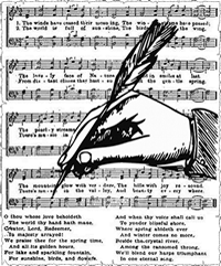 sheet of music with hand holding quill